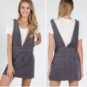 New Pewter Gray Deep V Overall Chord Button Skirt